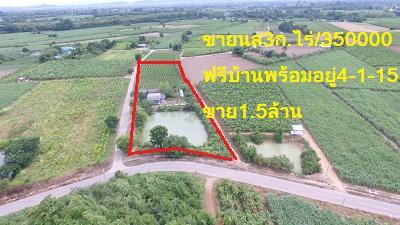 ขายที่นส3ก ครุฑเขียวไร่ละ350000ฟรีบ้านพร้อมอยู่ กาญจนบุรี