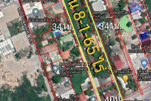 ขายที่ดิน 8-1-65 ไร่ ติดถนนรามคำแหง ห่างสถานีรถไฟฟ้ามีนพัฒนา 800ม. เขตมีนบุรี กรุงเทพๆ