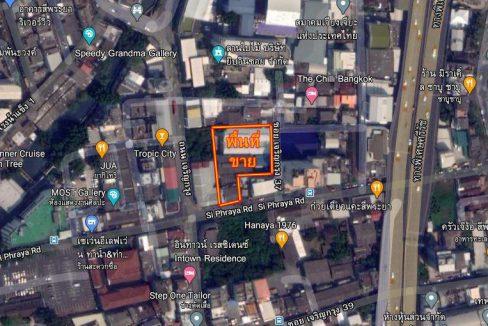 ขายอาคารพาณิชย์ พร้อมโกดัง เนื้อที่ 672 ตร.วา ติดถนนสี่พระยา