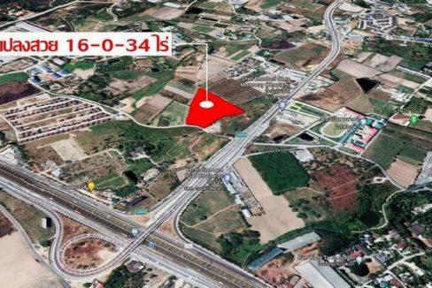 ที่ดินแปลงสวย 16-0-34 ไร่ อยู่ใจกลาง EEC ถนนข้าวหลาม เส้นตัดใหม่ มอเตอร์เวย์หนองมน บางแสน อ.เมือง จ.ชลบุรี