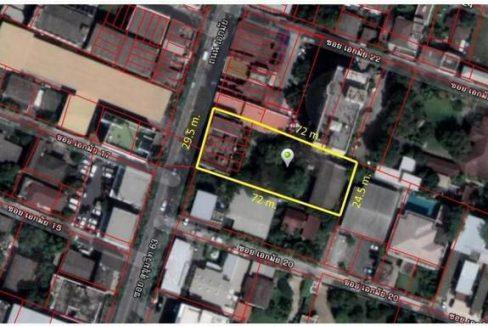 ขาย ที่ดิน พร้อมตึก 6 คูหา 1 ไร่เศษ ติดถนนเอกมัย