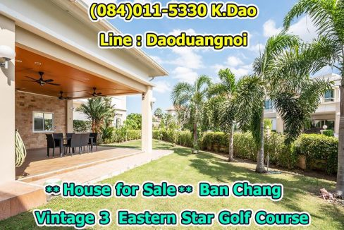 For Sale Ban Chang Vintage 3 Eastern Star Golf Course Plenty area, Cozy and lively house Sales Price 12 MB